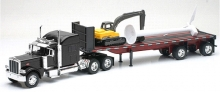 NEWRAY 10333 1:32 PETERBILT 389 WITH AN EXCAVATOR AND A WIND TURBINE ON A FLATBED TRAILER