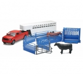 NEWRAY 05035 1:18 RANCH COW W/PICK UP & SQUEEZE CHUTE SET