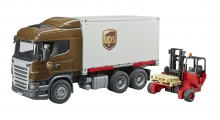 BRUDER 03581 SCANIA R SERIES UPS LOGISTICS TRUCK WITH FORKLIFT AND PALLETS