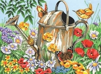 COLART 86292 WATERING CAN (FLOWERS & BUTTERFLY) ACRYLIC PAINT BY NUMBER (11.5 PULGX15.5 PULG)