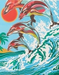 COLART 86307 DOLPHINS ACRYLIC PAINT BY NUMBER (9 PULGX12 PULG)