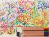 COLART 86326 FLORAL MONTAGE PENCIL BY NUMBER (11.5 PULGX15.5 PULG)