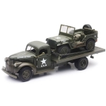 NEWRAY 61053 1:32 1941 CHEVY MILITARY FLATBED TRUCK WITH 1941 JEEP WILLYS