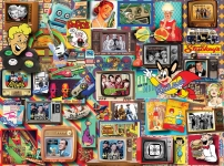 WHITEMOUNTAIN 1375 RETRO TV SHOWS & PRODUCTS COLLAGE PUZZLE (550)