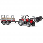 BRUDER 02046 MASSEY FERGUSON 7480 WITH FRONTLOADER AND TIMBER TRAILER